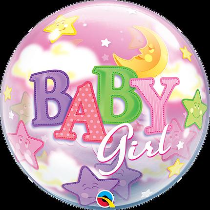 "Шар Bubble Бабл 22""/56 см Baby Girl Девочка и луна (Qualatex), фото 2"