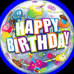 "Бабл 22"" QUALATEX-КВ Happy Birthday - кексы (УП)"