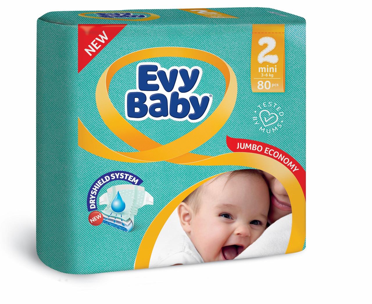 Подгузники детские Evy babymini elastic jumbo (3-6 кг) 80 шт