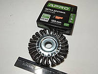 Щётка зачистная 125 мм APRO (830431) круг/стальные витки/для болгарки