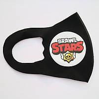 Детская многоразовая защитная маска Pitta черного цвета с рисунком из игры BRAWL STARS