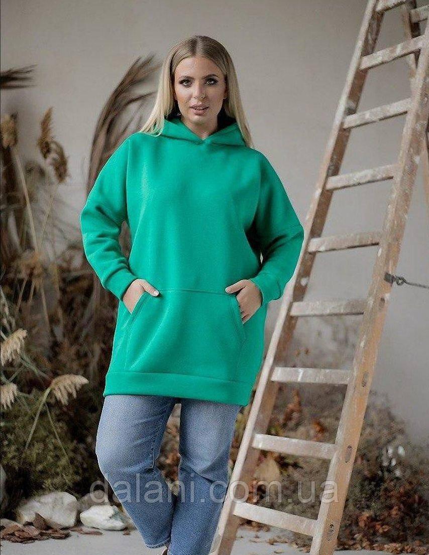 Женская зеленая худи-туника с капюшоном большие размеры