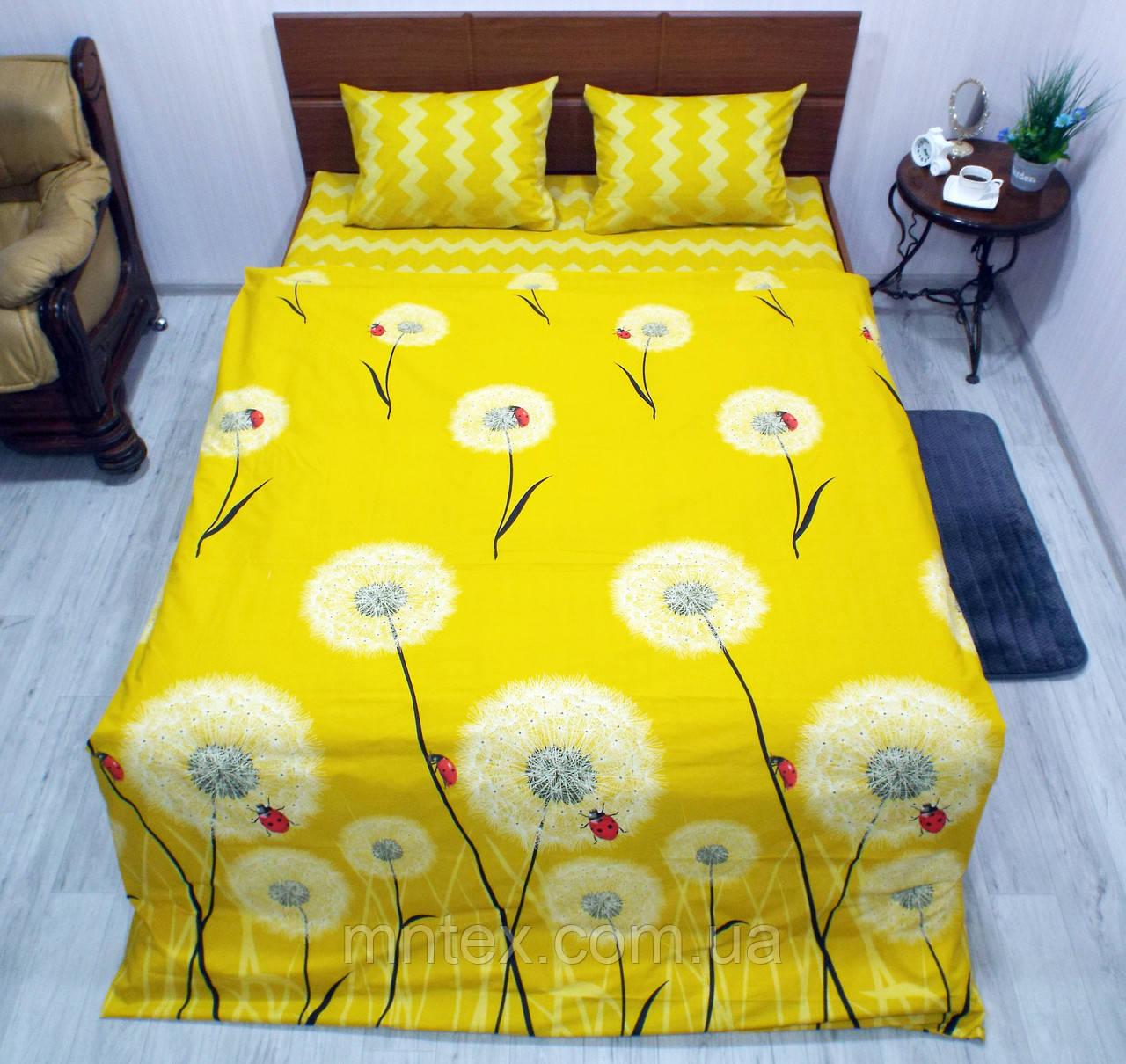 Комплект постільної білизни ранфорс Одувани на жовтому