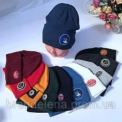 Двухслойная трикотажная  шапка с отворотом с светодиодным значком р 48-50  (2-5лет)