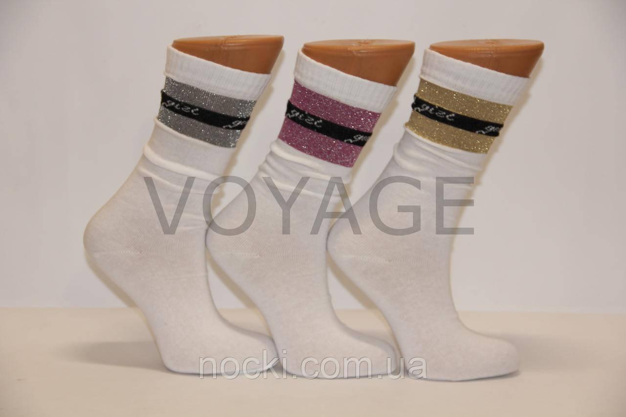Женские носки высокие  с люрексом НЛ  белый