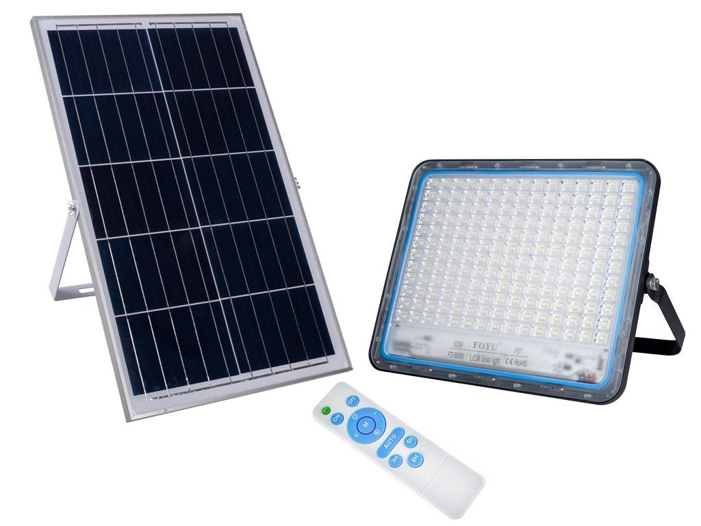 LED прожектор FOYU 300 Вт фонарь на солнечной батарее Solar Light с пультом ДУ свечение 14 часов