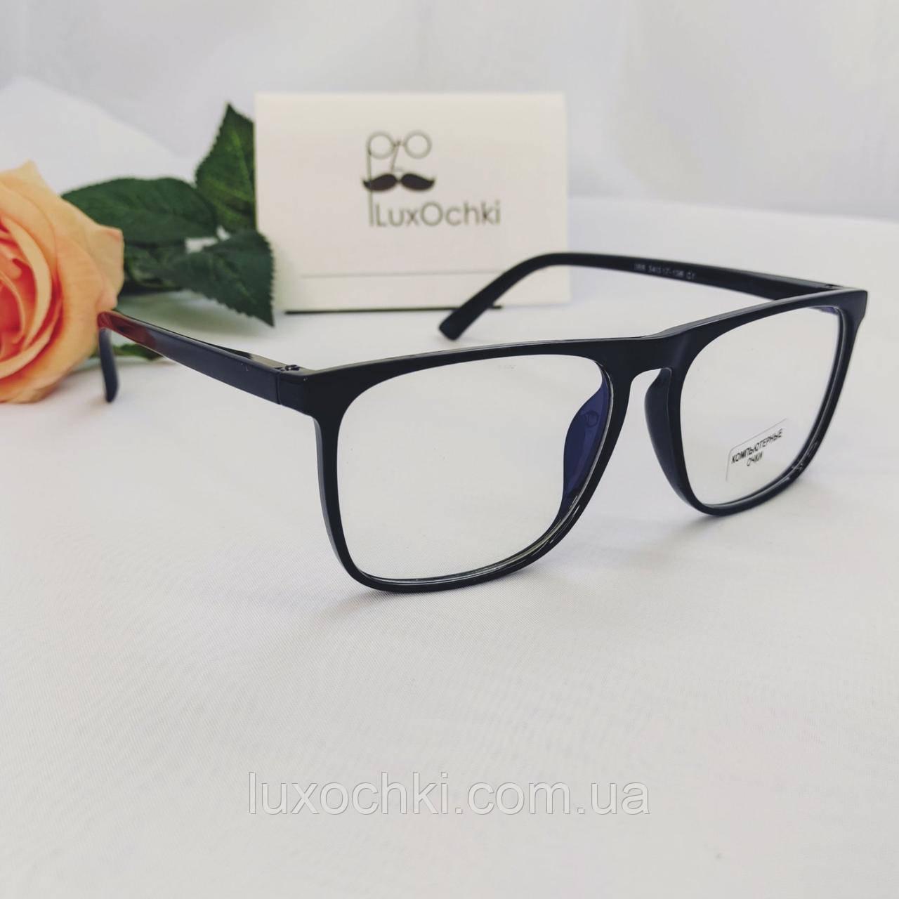Іміджеві+комп'ютерні окуляри в пластиковій оправі з флексованной( на пружинці) дужкою