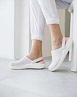 Кроксы медицинские женские Lite Ride бело-персиковые, фото 1
