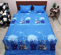 Комплект постельного белья ранфорс Котейки, фото 1