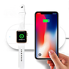 Беспроводное зарядное устройство AirPower Wireless Charger 2 в 1 + Беспроводная зарядка для Apple iWatch, фото 2