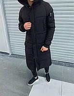 Парка зимняя мужская черная теплая