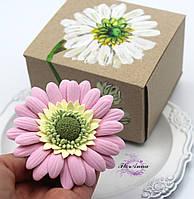 """Оригинальный подарок девушке, женщине, подруге. Заколка/ брошь цветок  """"Розовая гербера"""", фото 1"""