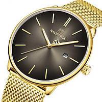 Женские оригинальные наручные кварцевые часы Naviforce NF3012L Gold-Black