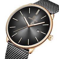 Женские оригинальные наручные кварцевые часы Naviforce NF3012L Black-Cuprum