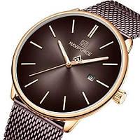 Женские оригинальные наручные кварцевые часы Naviforce NF3012L Brown-Cuprum