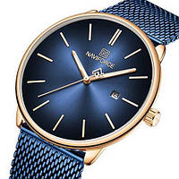 Женские оригинальные наручные кварцевые часы Naviforce NF3012L Blue-Cuprum