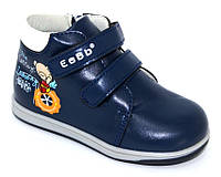 Синие осенние ботинки для мальчиков, детские ботинки на липучках