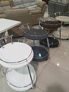 Столик барный, сервировочный стол Флоренция графит глянец + хром