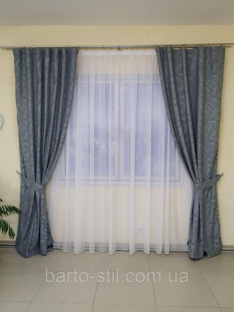 Готовые шторы из ткани лён блекаут з рисунком Высота 2.7 м.