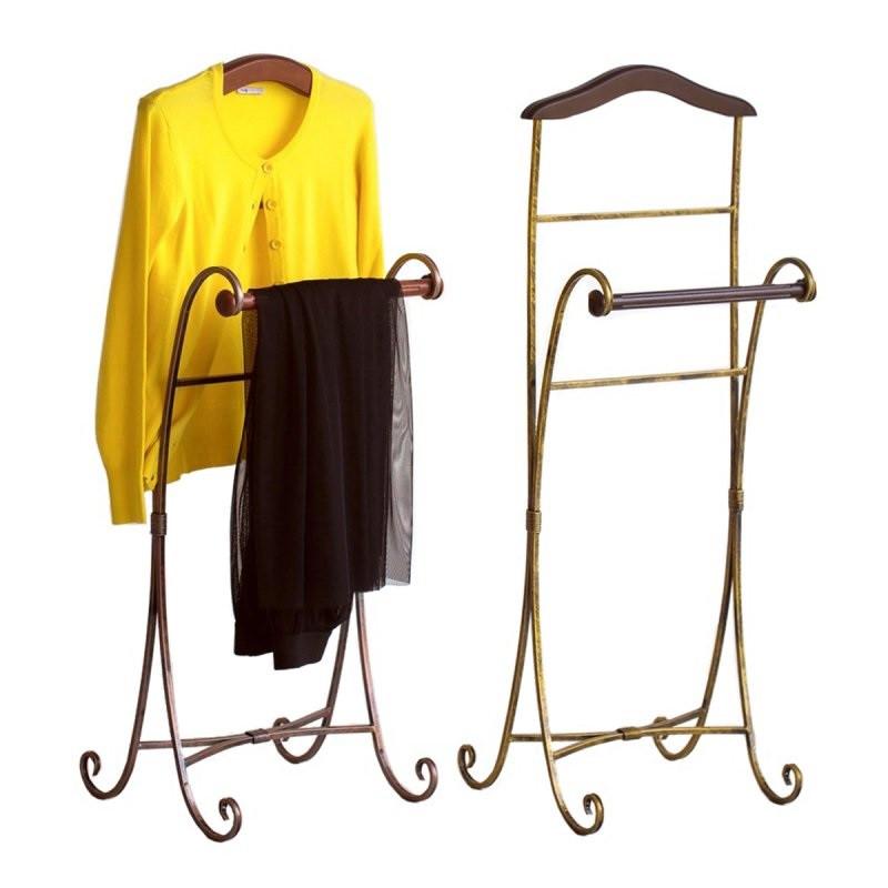 Вешалка для одежды напольная Антик кованная. Стойка для одежды с элементами из массива натурального дерева