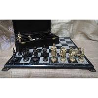 Набір шахів, дошка з мармуру, бронзові фігурки
