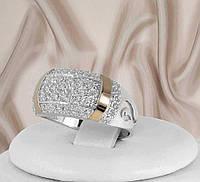 """Срібне кільце з золотими пластинами """"Фіона"""", фото 1"""