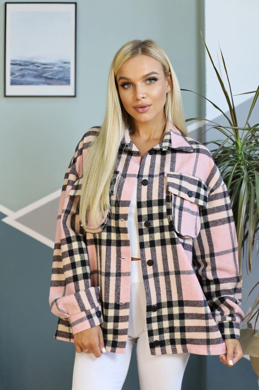 Стильная женская шерстяная рубашка-куртка 42-46 (в расцветках)