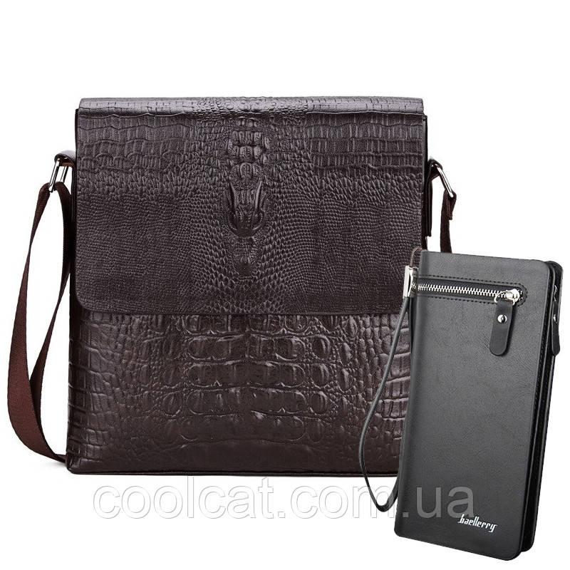 Мужская сумка Lacoste Aligator + Кошелек в Подарок! Сумка черная (27 x 25 x 5 см)