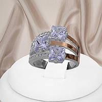 Срібне кільце 925 проби з золотими пластинами і білими фіанітами Каприс