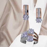 """Жіночий срібний набір прикрас з золотими вставками і білими фіанітами """"Каприс"""", фото 1"""
