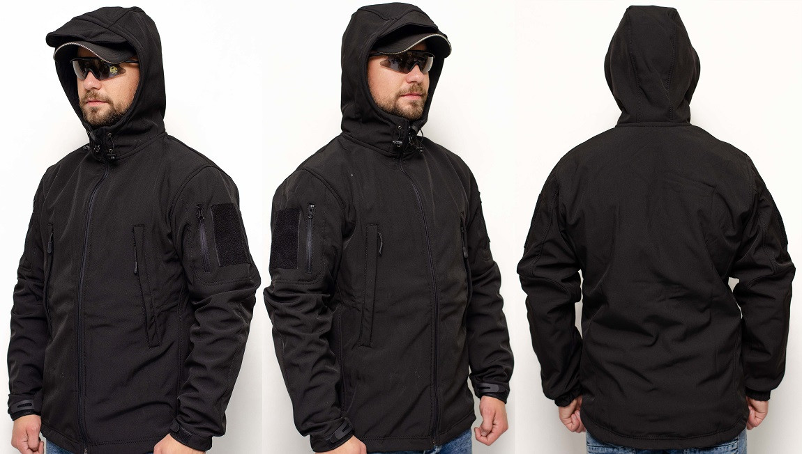 Куртка софтшел SOFT SHELL POLICE BLACK HM1