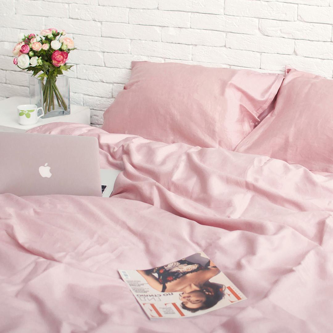 Комплект постельного белья из сатина Турция, постельное белье 100% хлопок розовый жемчуг Семейный