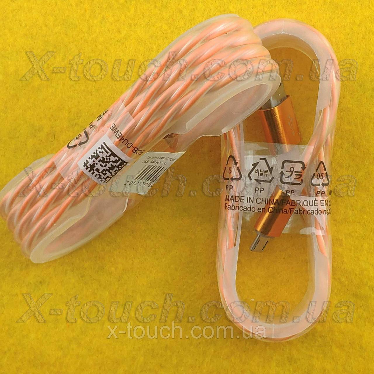 USB - Micro USB кабель в силиконовой оболочке 1 м, Шнур micro usb 2.0 для Asus ( цвет оранжевый)