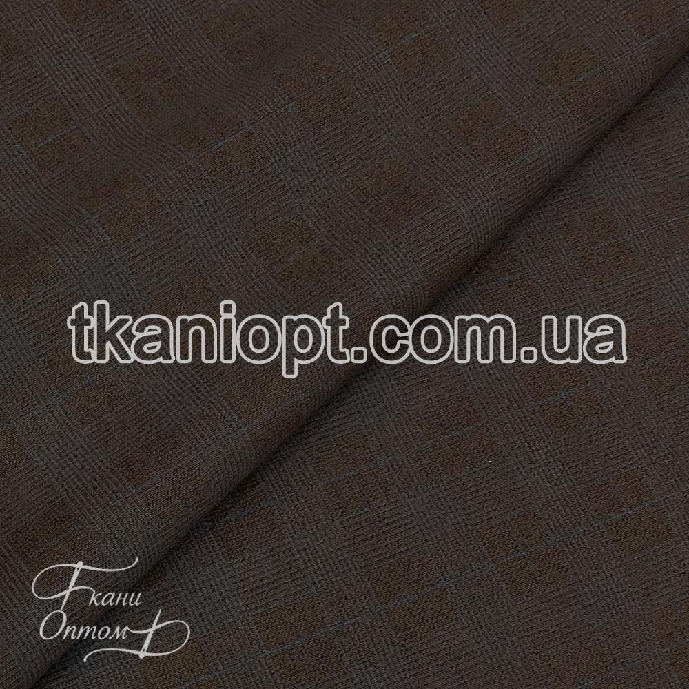 Ткань Замша на дайвинге клетка (коричневый)