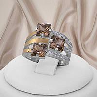 Жіноче кільце срібне з золотими пластинами і раухтопазом Каприс