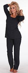 Пижама женская вискоза  синяя темная Delafense 936