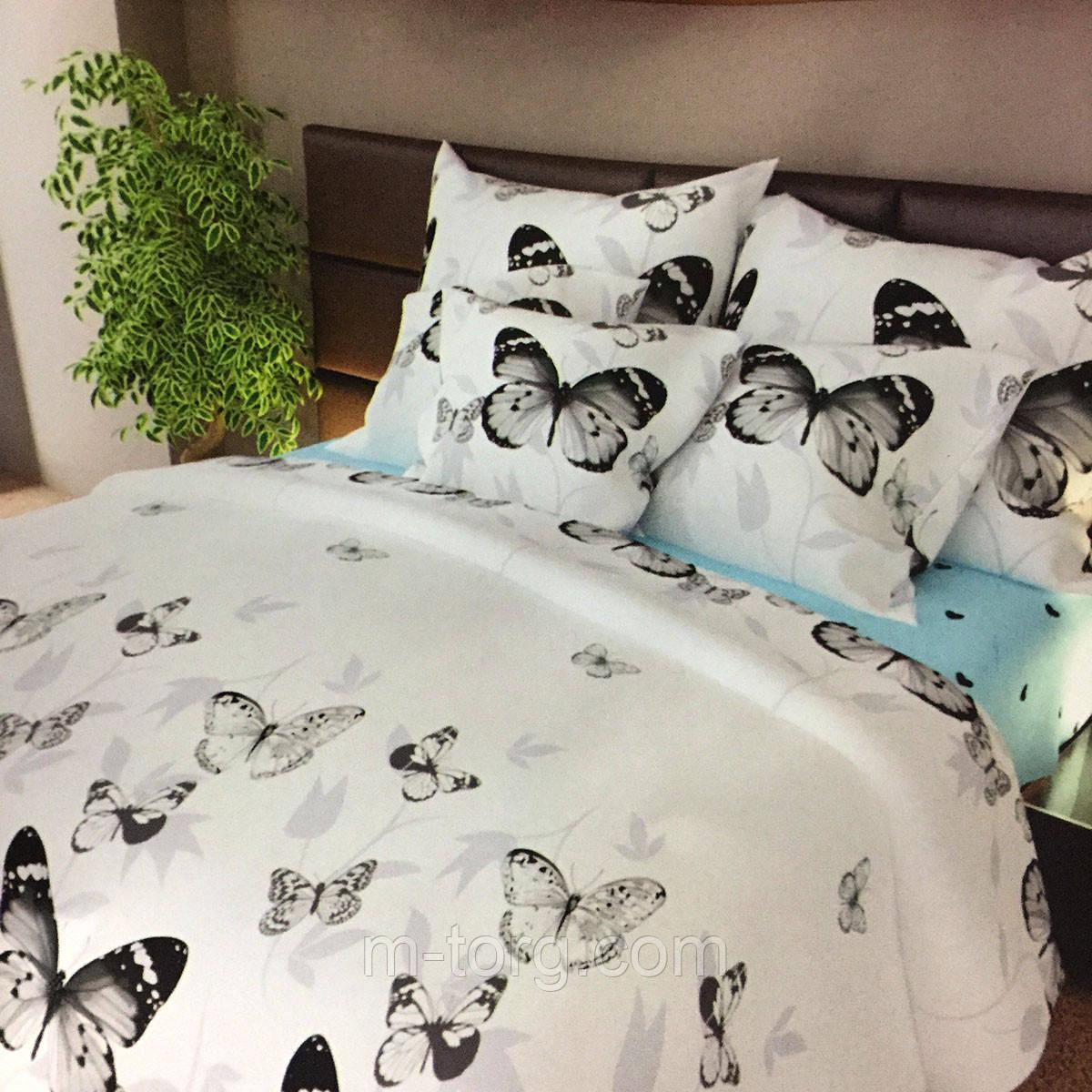 """""""бабочки"""" комплект постельного белья полуторный 150/210 см, нав-ки 70/70, ткань сатин, 100% состоит из хлопка"""
