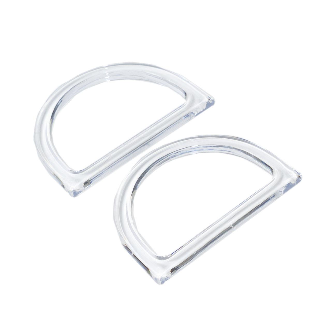 Комплект ручек для сумки пластиковых Полукруглых 12х8,5 см Прозрачные