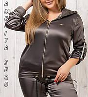 Женский турецкий батальный спортивный костюм атласный стильный № 3801 хаки, фото 1