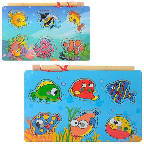 Деревянная игрушка Рыбалка MD 1149 (150шт) рамка-вклад, мор.животн,удочка,магнитн,2в,куль,12-18-1см