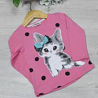 Детский батник из трикотажа, для девочек 1-2-3-4 года (4 ед в уп), Ярко-розовый