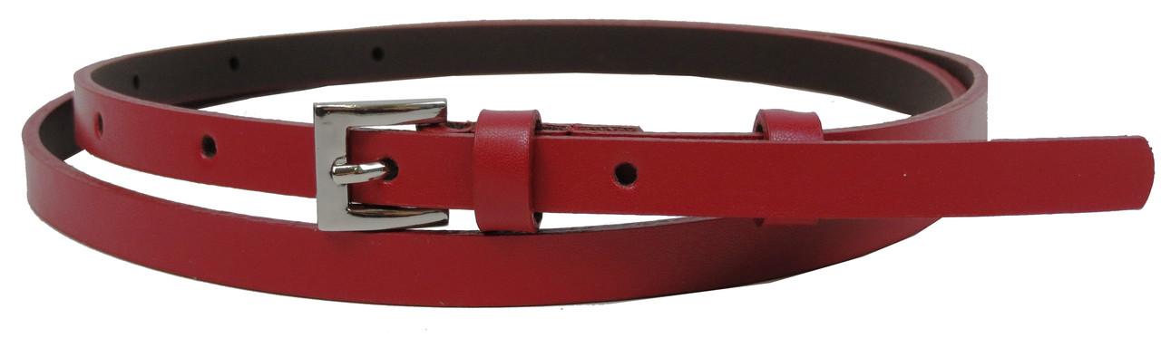 Тонкий женский кожаный ремень, поясок 1 см Rovicky красный
