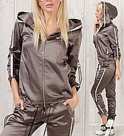 Женский турецкий спортивный костюм атласный стильный № 3801 хаки