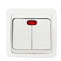 Выключатель Wega двойной с подсветкой белый
