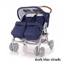 Коляска для двойни Lorelli TWIN (dark blue clouds), фото 1