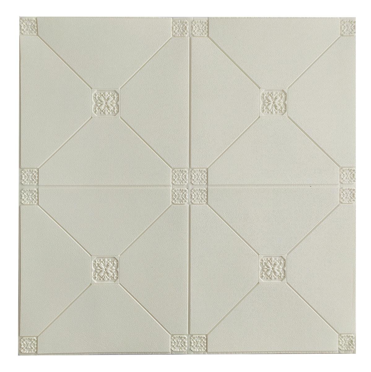 Панель потолочная самоклеющаяся 3D 4.5мм Белая с узором №164