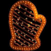 """Светодиодная новогодняя фигура """"Рукавица"""" h=710 мм. Светящаяся led-игрушка.Оранжевая."""