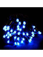 Новогодняя светодиодная led гирлянда. Длина 10 м, 100 диодов, 220 В. Цвет синий