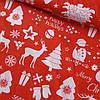 Бавовняна тканина новорічна з ялинками і оленями на червоному, ш. 160 см
