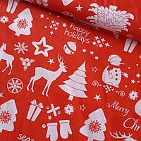 Бавовняна тканина новорічна з ялинками і оленями на червоному, ш. 160 см, фото 1